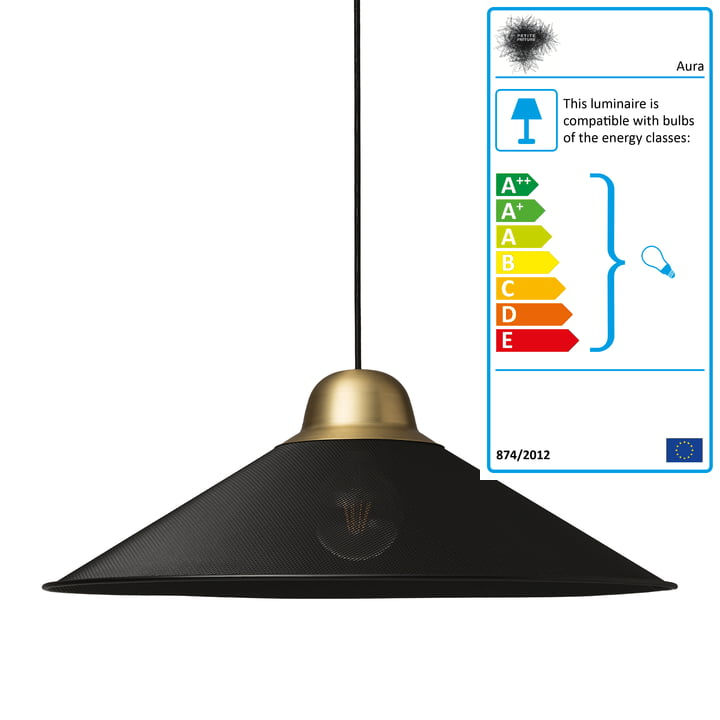 Aura pendant lamp, large by Petite Friture in black / brass