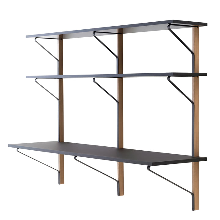 REB 010 Kaari wall shelf with desk 200 cm by Artak in black / natural oak