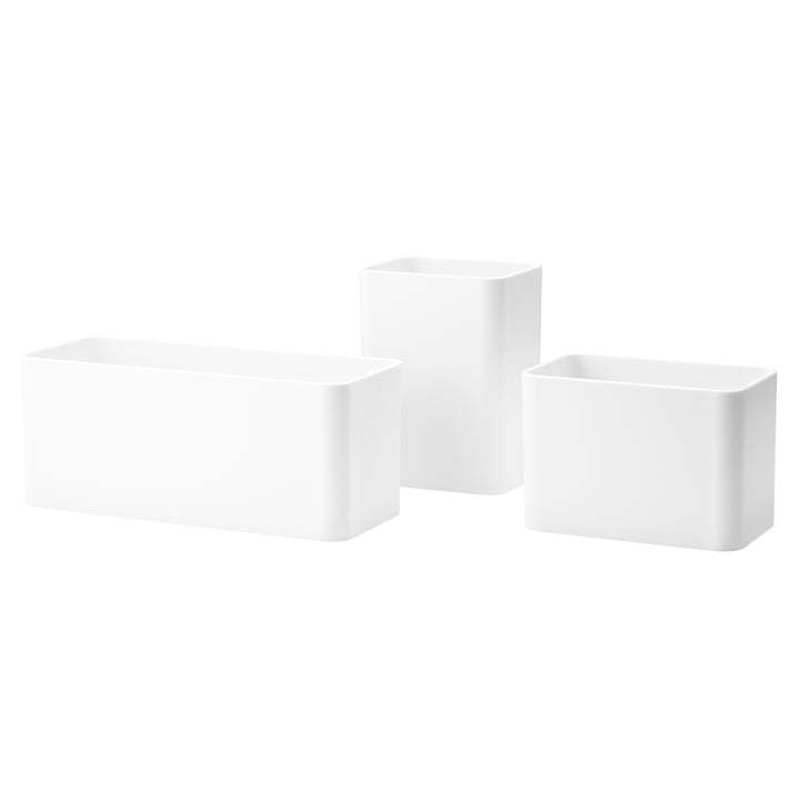 Organizer boxes (set of 3) of string in white