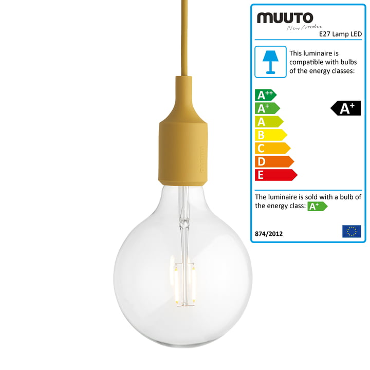Muuto - E27-Socket Pendant Lamp LED, mustard