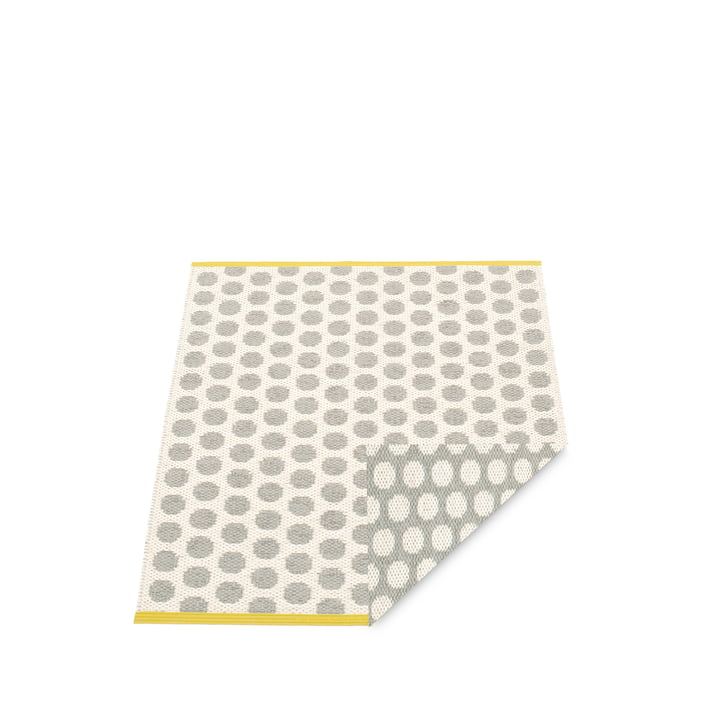 Noa Rug 70 x 50 cm by Pappelina in Warm Grey / Vanilla / Mustard Edge