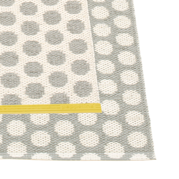 Noa Rug 70 x 50 cm by Pappelina in Warm Grey / Vanilla / Mustard Edge