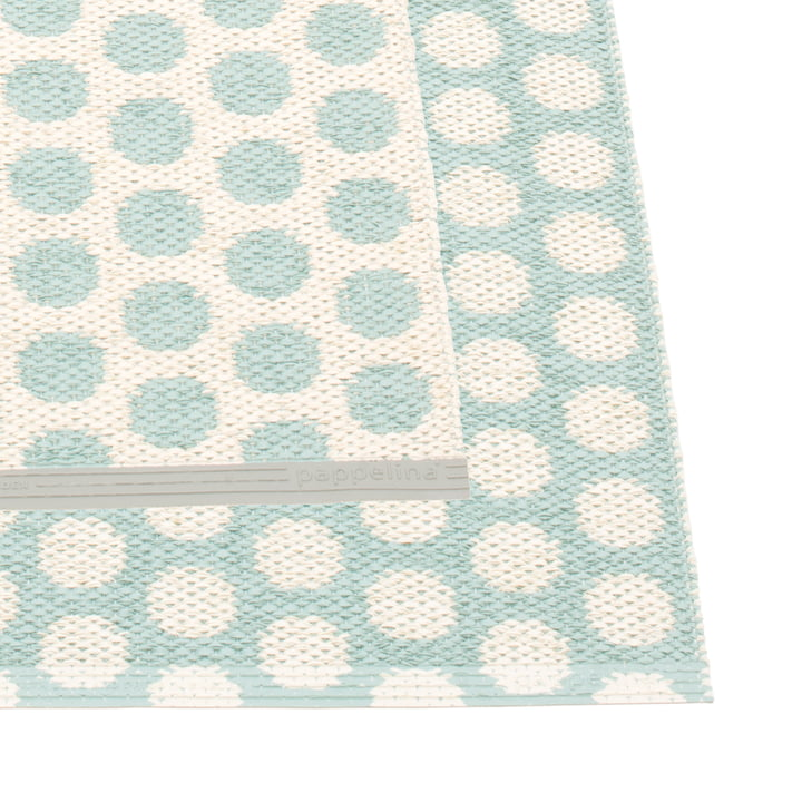 Noa Rug, 70 x 50 cm by Pappeline in Pale Turquoise / Vanilla / Warm Grey Edge