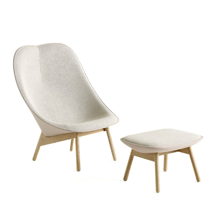 Uchiwa Armchair by Hay in Soaped Oak and Beige with Stool