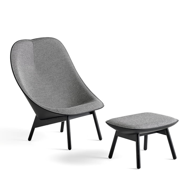 Uchiwa Armchair by Hay in Black Stained Oak and Leather with Stool