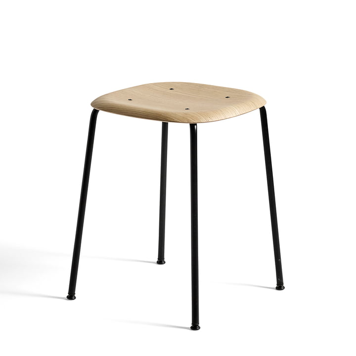 Soft Edge 70 stool by Hay in matt lacquered oak / black powder-coated steel
