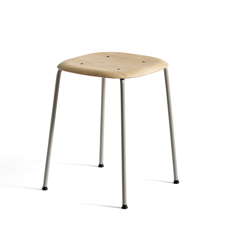 Soft Edge 70 stool by Hay in matt lacquered oak/ soft grey powder-coated steel