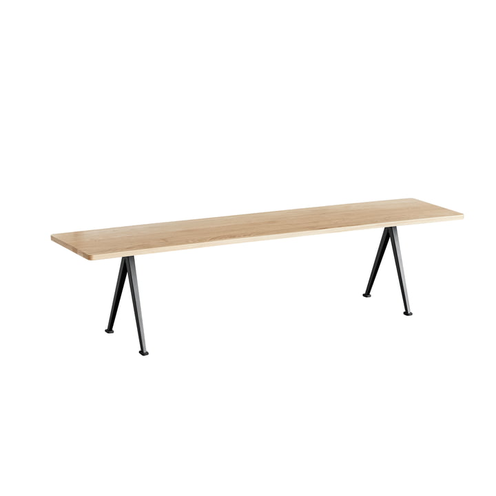 Pyramid Bench 190 cm by Hay in Black / Matt Lacquered Oak