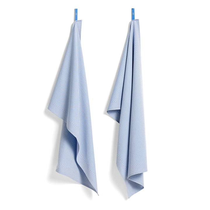Tea Towels by Hay in Check / Light Blue (Set of 2)