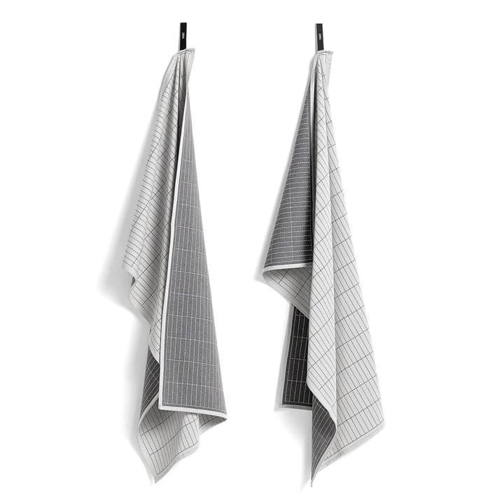 Tea Towels by Hay in Grid / grey (Set of 2)