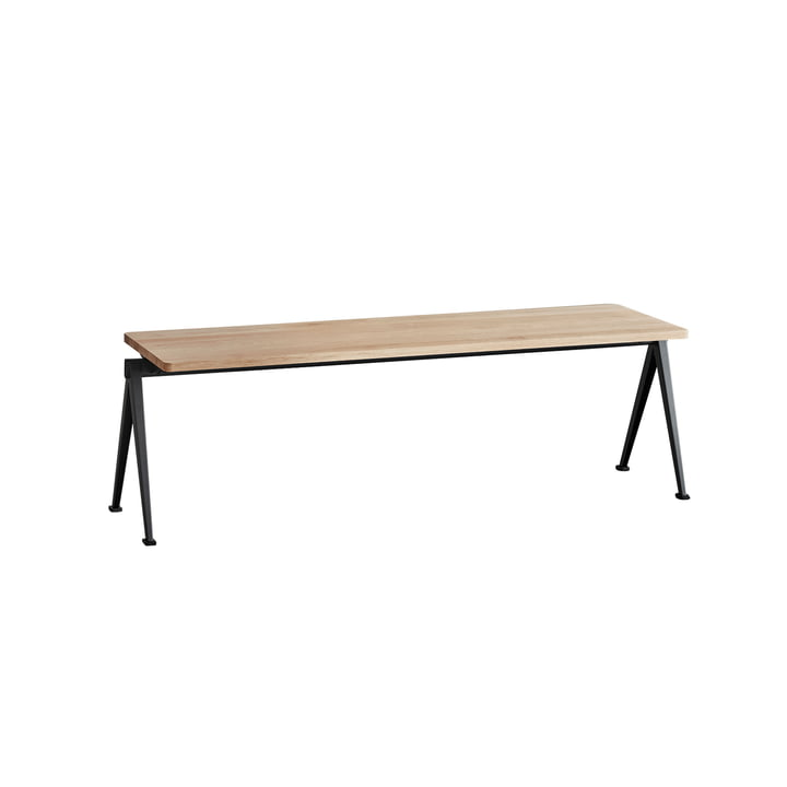 Pyramid Bench 140 cm by Hay in Black / Matt Lacquered Oak