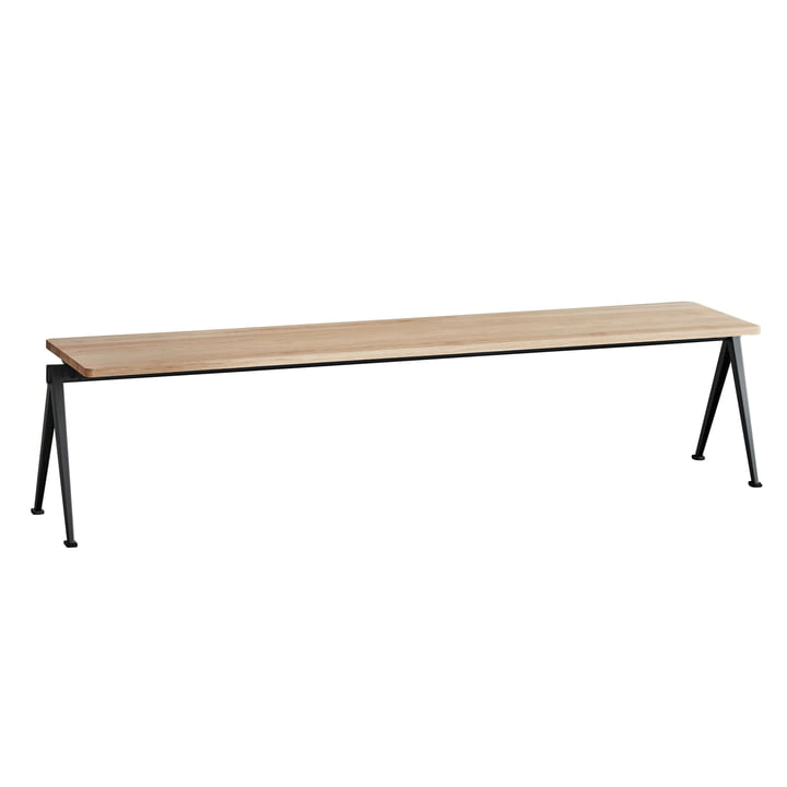 Pyramid Bench by Hay in Black / Matt Lacquered Oak
