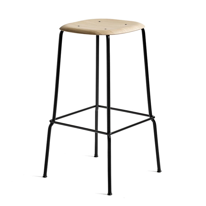 Soft Edge 30 High Stool from Hay in oak matt lacquered / steel black powder coated