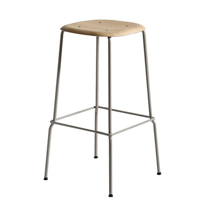 Hay - Soft Edge 30 High Stool, Oak Lacquered Matt / Black Powder-Coated Steel