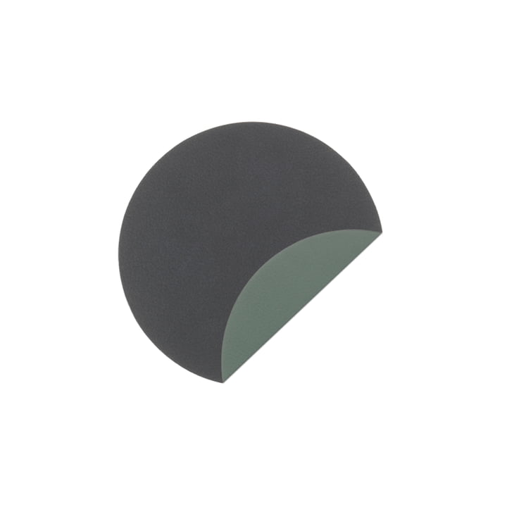 Glass Mat Circle Double Coaster Ø 10 cm from LindDNA in Cloud anthracite / Nupo pastel green (2 mm)