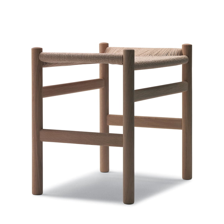 Carl Hansen - CH53 stool in soaped oak with natural mesh