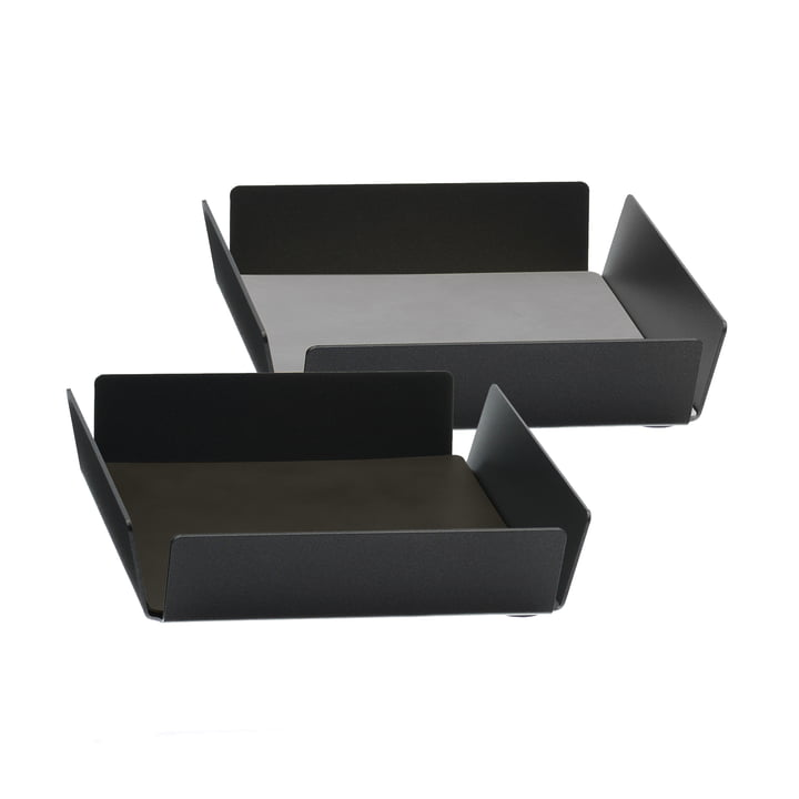 Tray Square Mini by LindDNA in anthracite and brown Double Cloud / sand Nupo