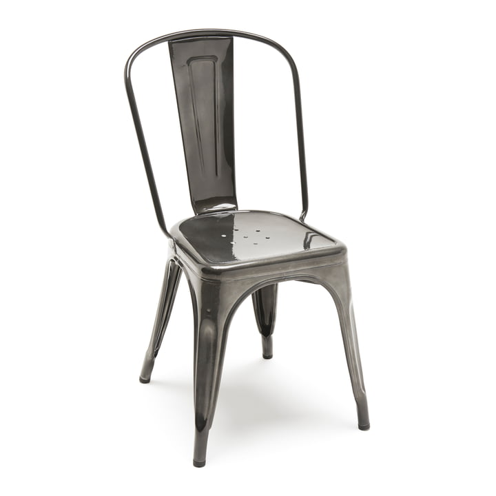 A Chair by Tolix Varnished in Steel Grey