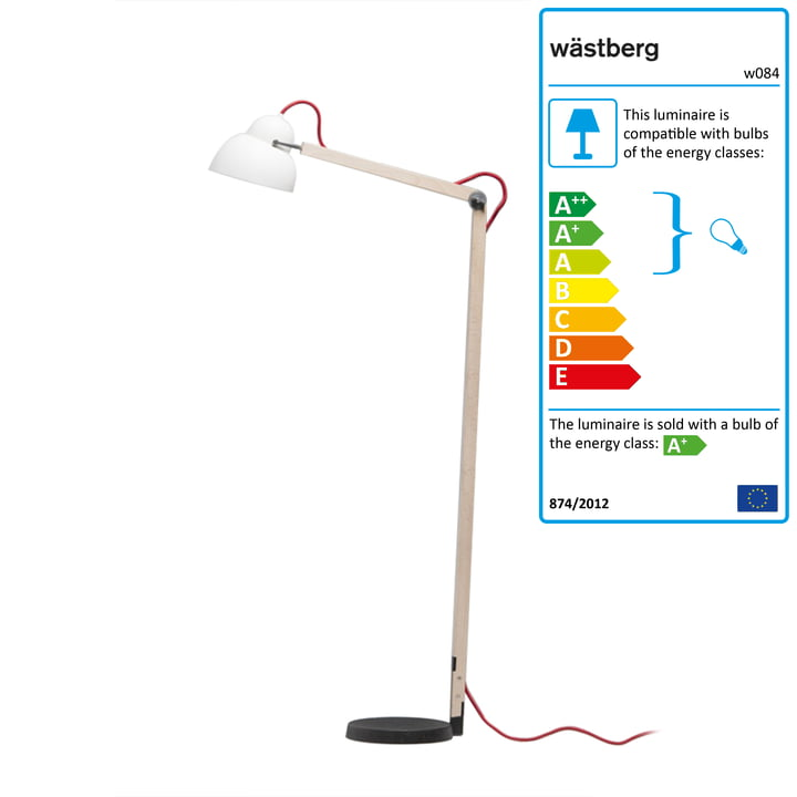 Studioilse reading light w084f with red cable by Wästberg
