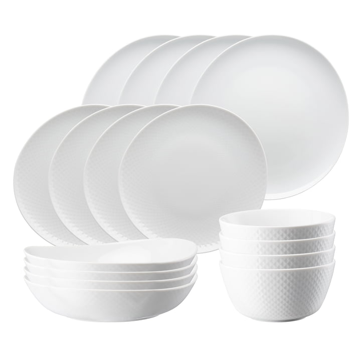 Junto Porcelain table set from Rosenthal in white (16 pieces)