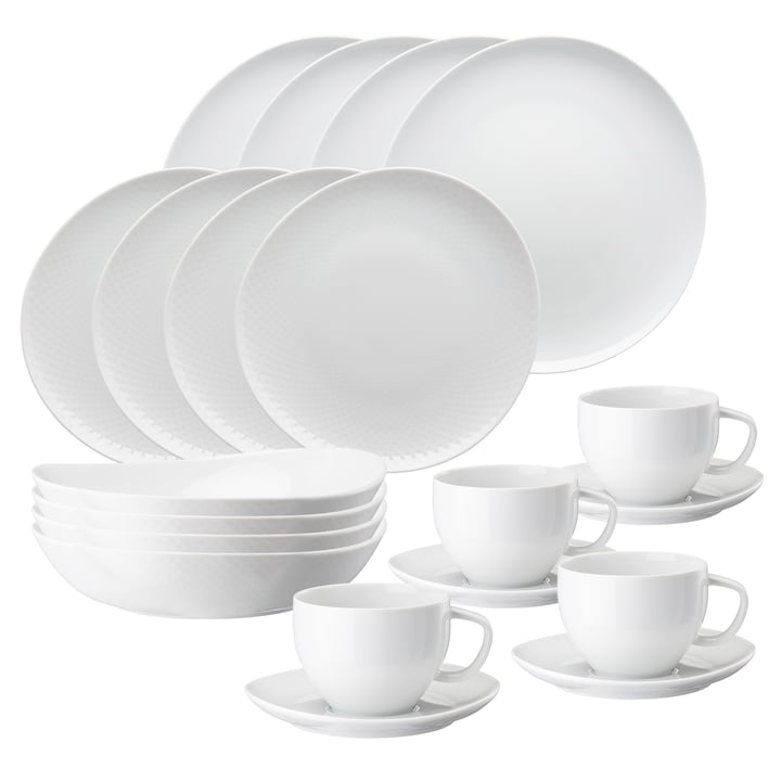 Junto porcelain dinner set by Rosenthal in white (20 pieces)