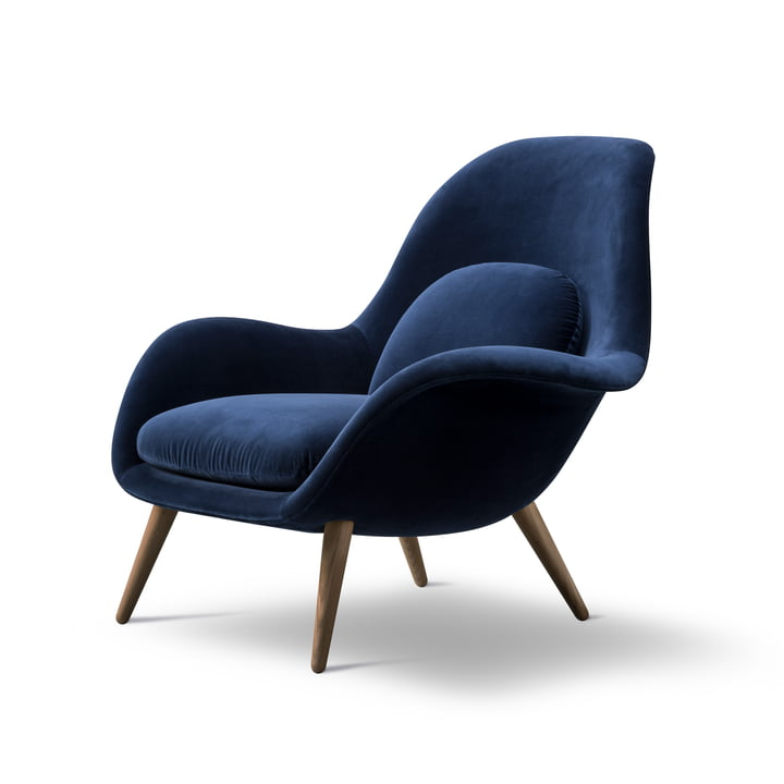 Swoon armchair by Fredericia smoked in oak / dark blue (Harald 3 / 772)