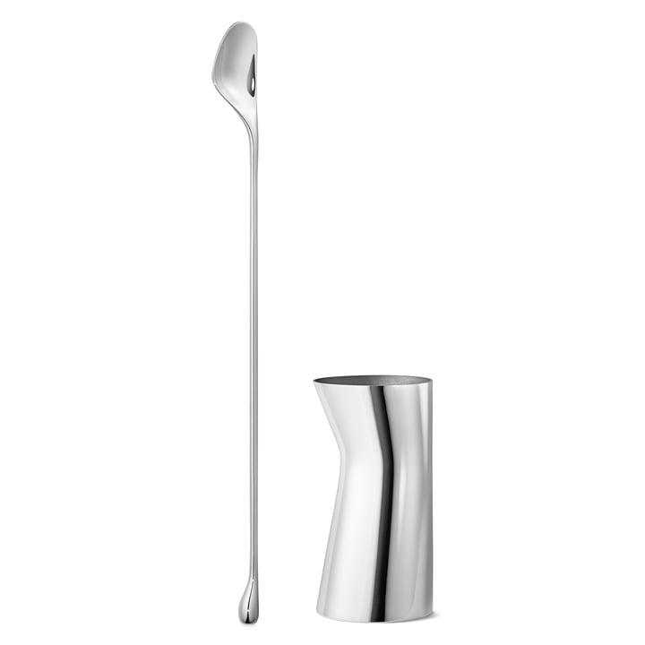 Georg Jensen - Sky Cocktail Gift Set: Mixing Spoon & Measuring Cup, stainless steel