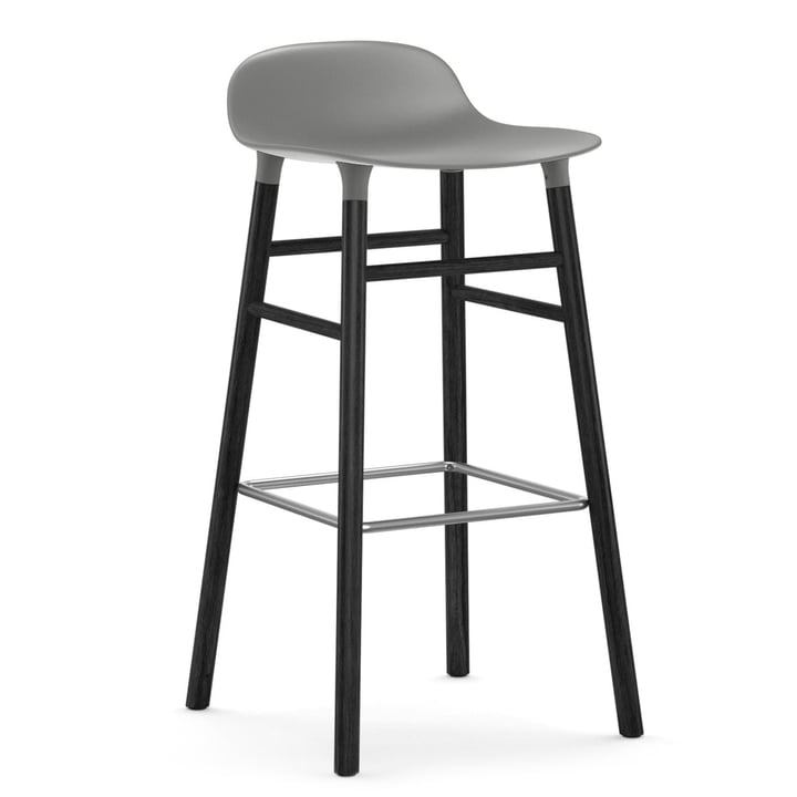 Form Bar Stool 75 cm, Wood Legs by Normann Copenhagen in Black Oak / Grey