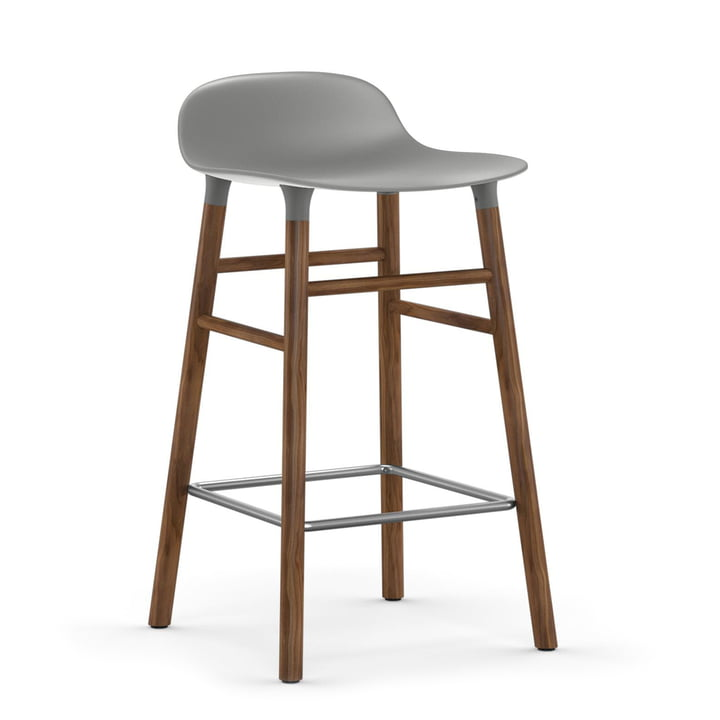 Form Bar Stool 65 cm Walnut Frame / Grey by Normann Copenhagen