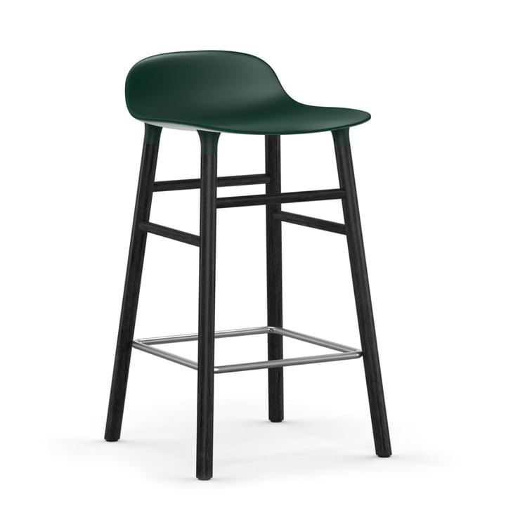 Form Bar Stool 65 cm Black Oak Frame / Green by Normann Copenhagen