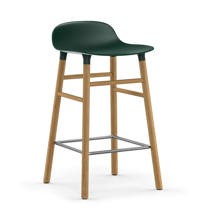 Form Bar Stool 65 cm Oak Frame / Green by Normann Copenhagen