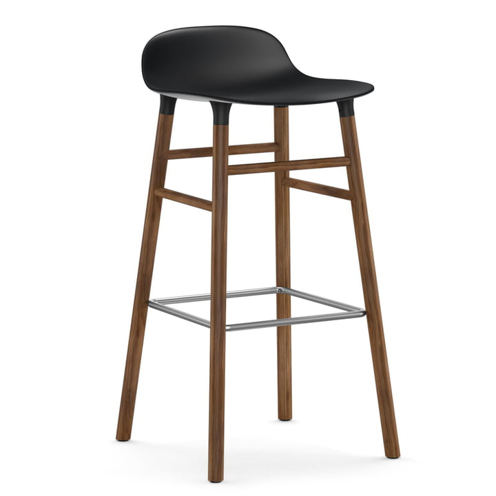 Form Bar Stool 75 cm, Wood Legs by Normann Copenhagen in Walnut / Black