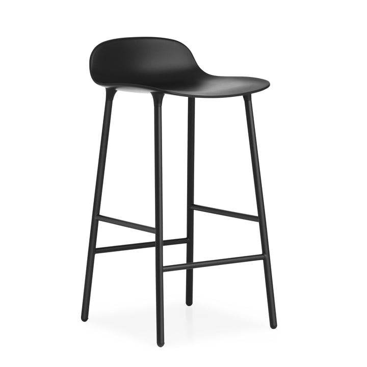 Form bar stool (65 cm) by Normann Copenhagen in black with steel frame