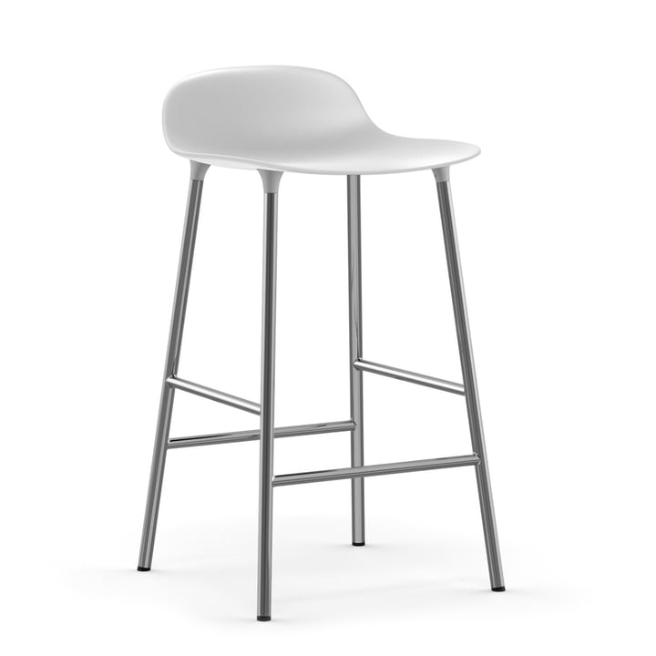 Form Bar Stool 65 cm with chrome frame by Normann Copenhagenin white