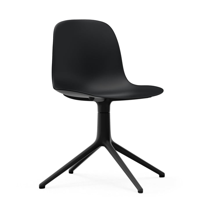 Form swivel chair by Normann Copenhagen in aluminium black / black