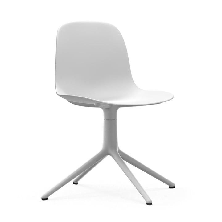 Form swivel chair by Normann Copenhagen in aluminium white / white