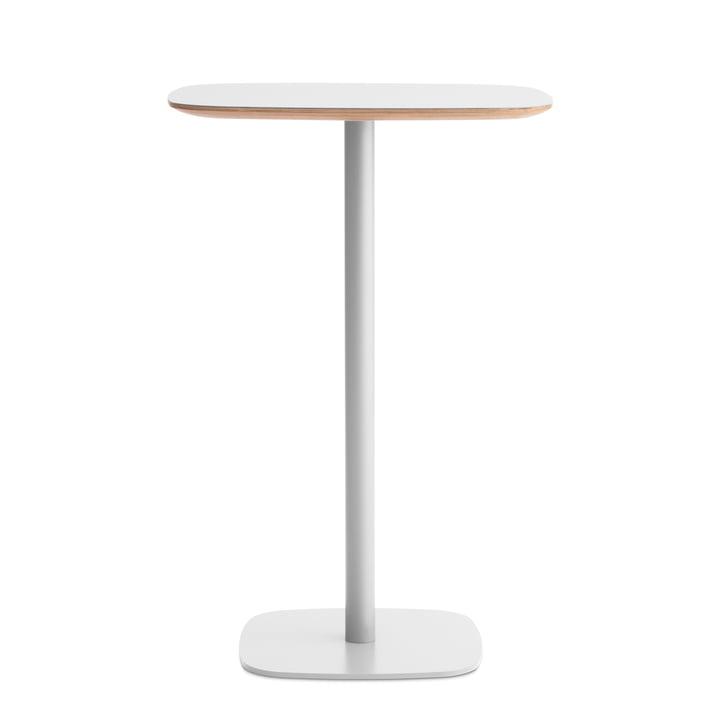 Form bar table 70 x 70 x 104,5 cm by Normann Copenhagen in white with oak frame