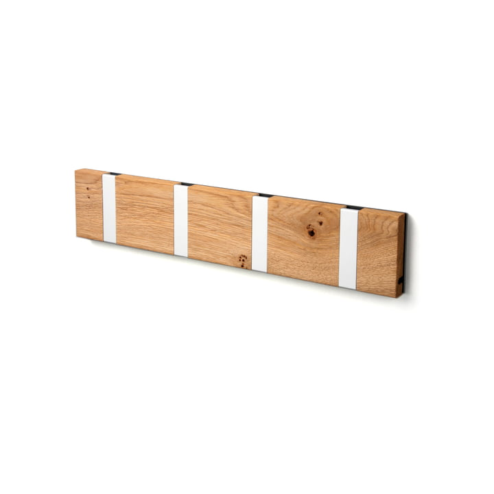 The LoCa - Knax Rustique 4 Coat Rack in oiled oak / grey