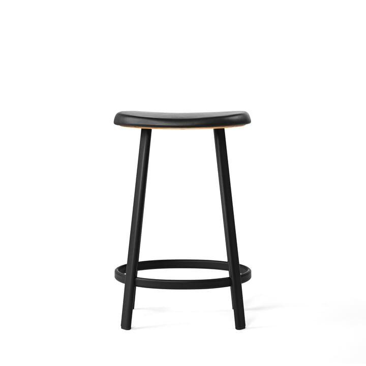 The Million - Anno Bar Stool (H 65 cm) in black / black leather