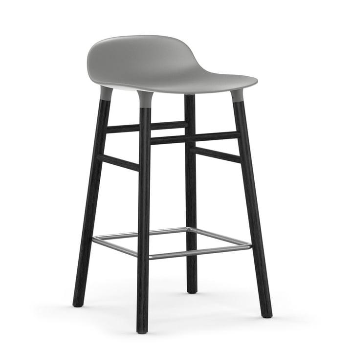 Form Bar Stool 65 cm Black Oak Frame / Grey by Normann Copenhagen