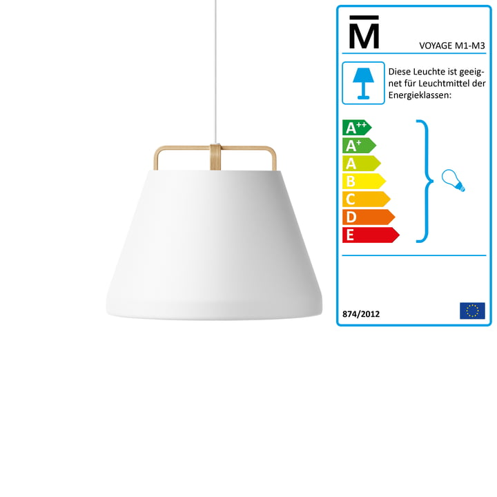 Million - Voyage M1 Pendant Lamp Ø 46 cm, white / oak