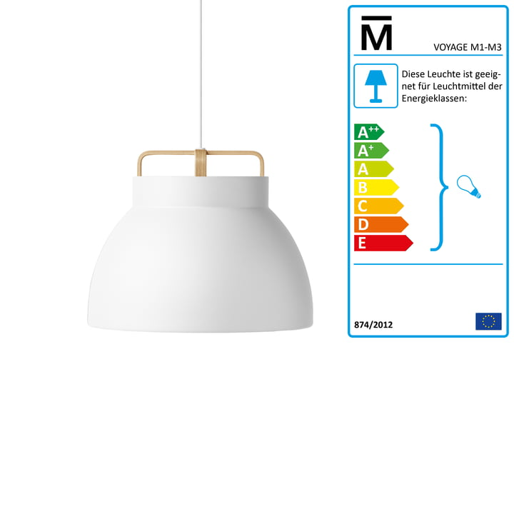 Million - Voyage M3 Pendant Lamp Ø 46 cm in white / oak