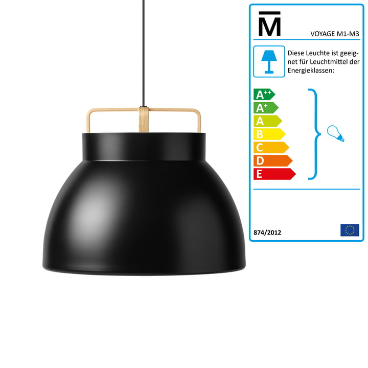 The Million - Voyage M3 Pendant Lamp Ø 58 cm in black / oak