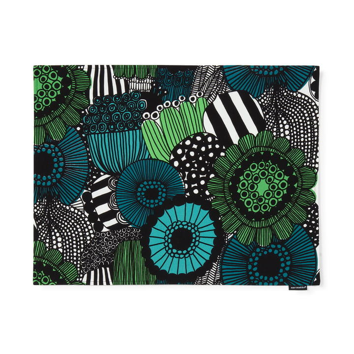 Siirtolapuutarha placemat 31 x 42 cm by Marimekko in white / green / black