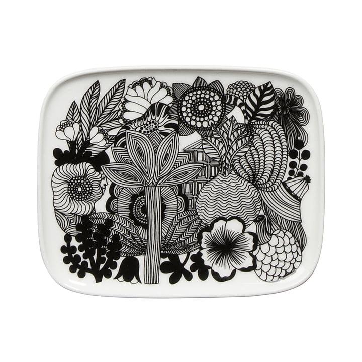 Siirtolapuutarha Serving Plate 15 x 12 cm by Marimekko in black / white