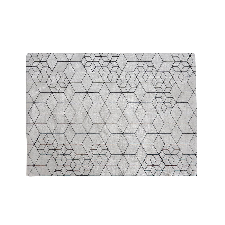Mika Barr - Tin Placemat, 50 x 40 cm, silver / black