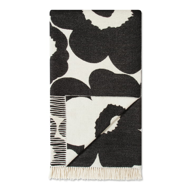 Unikko Blanket 130 x 200 cm by Marimekko in Black / White (Winter 2017)