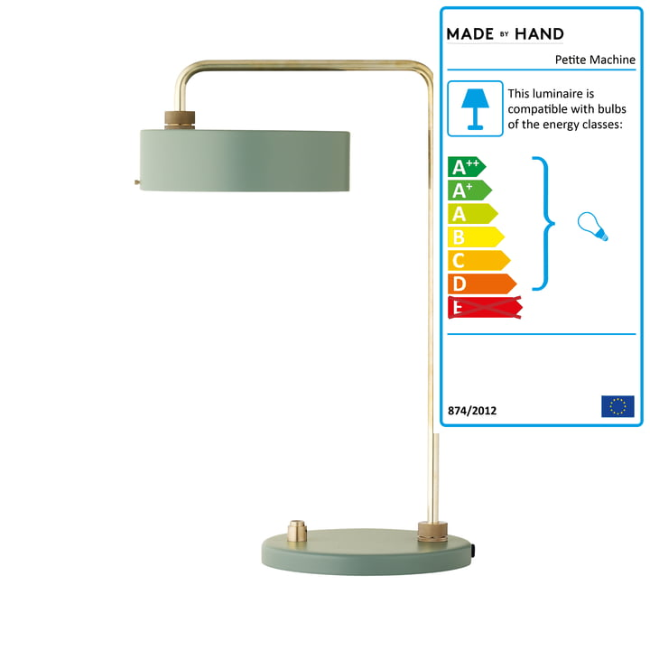 The Made by Hand - Petite Machine Table Lamp in Moss Green