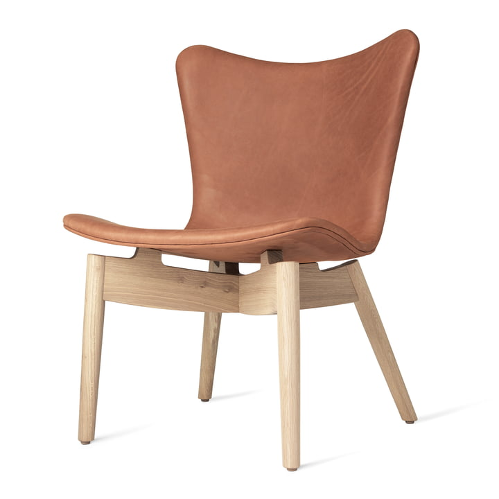 Shell Lounge Chair by Mater made of lacquered matt oak and Rust Dunes leather
