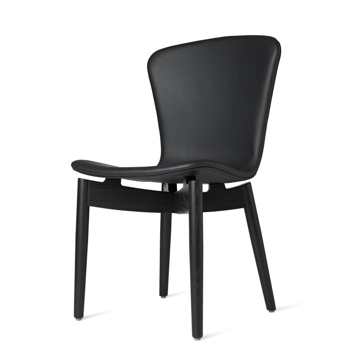 Shell Dining Chair by Mater in Black Stained Oak / Ultra Black Leather